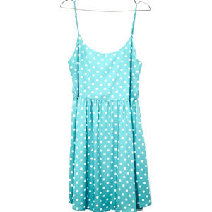 Everly Teal and White Polka Dot Summer Dress Large